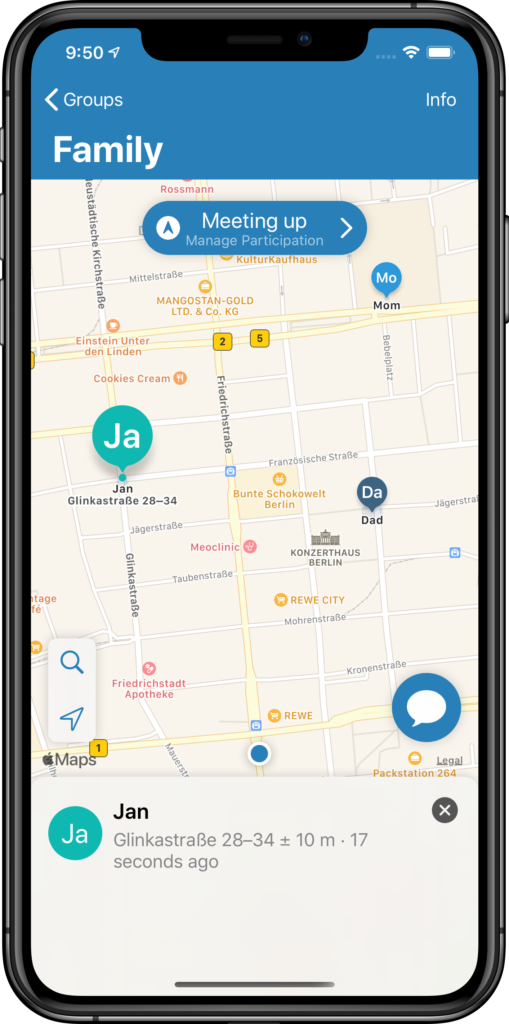 Location Sharing App TICE – Map with family members sharing their location